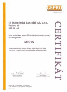 Certifikát autorizovaný dealer systému MISYS